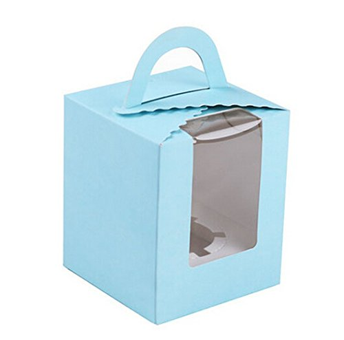 ONOR-Tech Set of 12 Portable Cupcake Boxes Containers with Cardboard Insert Light Blue