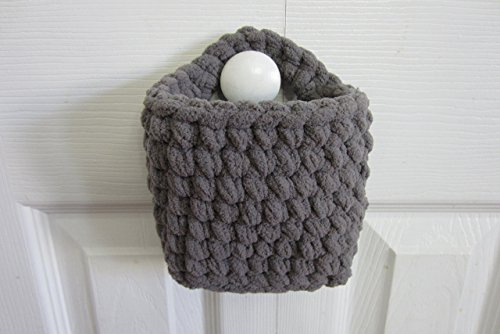 Small Hanging Basket Rectangle Wall Baskets Crocheted Catch All - Many Color Choices