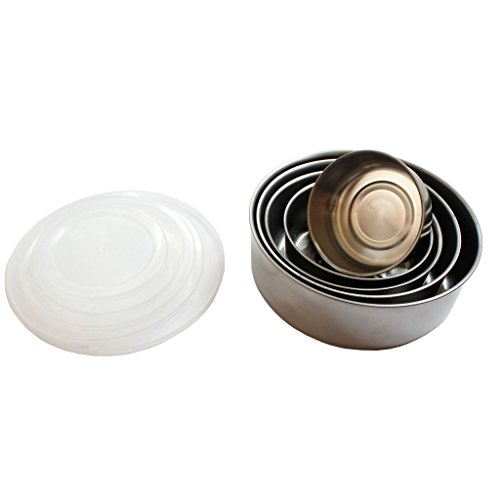 Stainless Steel Lunch Box Bowls Set of 5 Containers with Snap On Lids by Kurtzy - Round Metal Food Containers with Lids for Adults Kids - Stackable Reusable Bento Lunch Box Set