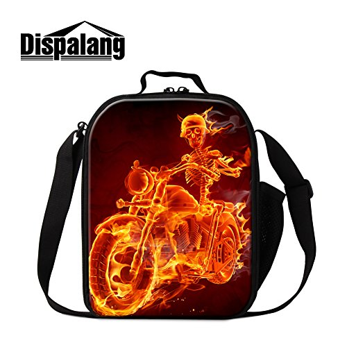 Dispalang Skull Printing Lunch Bags for boys Adult Small Insulated Cooler Bag Cool Messenger Lunch Box Bags