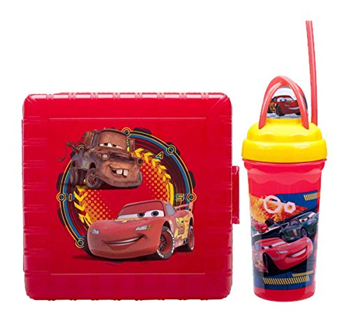Disney Pixar Cars Lightning Mcqueen Mater Kids Lunch Container Gopak Plastic Lunch Container with Sandwich Snack Compartments Plus Bonus Cars Loopity Loop Travel Tumbler