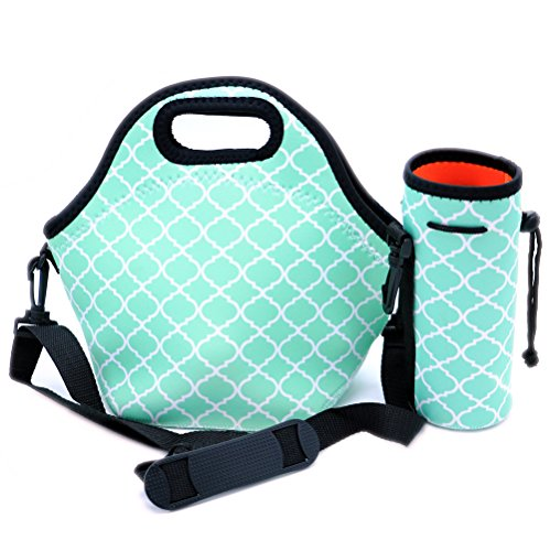 Orchidtent Neoprene Water Resistant Portable Lunch Bag Carry Case with Zipper Strap Box Cooler Picnic Outdoor Travel Fashionable Handbag Pouch for Women Men Kids HOT Blue Lunch bagWater Bottle Tote
