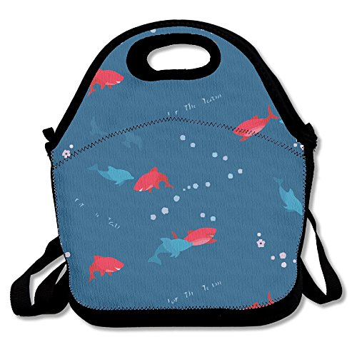 Dolphin And Shark Lunch Box Bag For Kids And Adultlunch Tote Lunch Holder With Adjustable Strap For Men Women Boys GirlsThis Design For Portable Oblique Crossdouble Shoulder