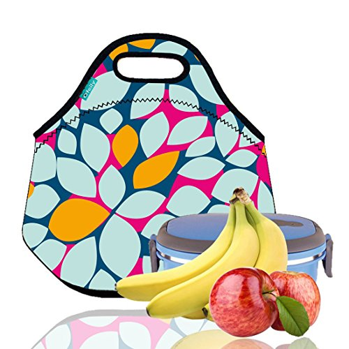 Lunch Tote OFEILY Lunch boxes Lunch bags with Fine Neoprene Material Waterproof Picnic Lunch Bag Mom Bag Leaf