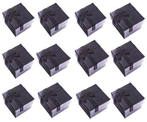 Glitterymall 12pcs Black Color Cube Cardboard Jewelry Bangle Gift Rings Earrings Boxes Cutely Small Gift Box with Satin Ribbons Bownot White or Black Foam insert