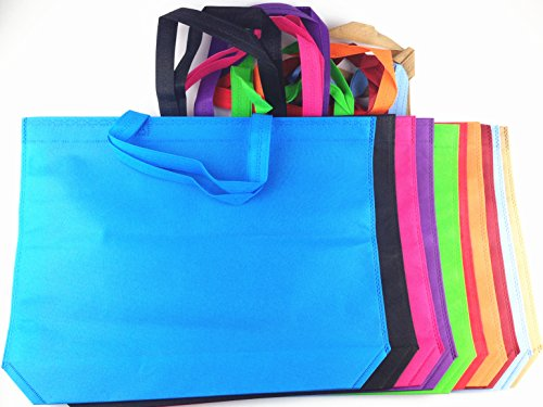 RayLineDo Shopping Non-Woven Bags Reusable Grocery Shopping Tote Bags Convenient Grocery Handy Bags Shopping Travel Bags Random Color - 7PCS