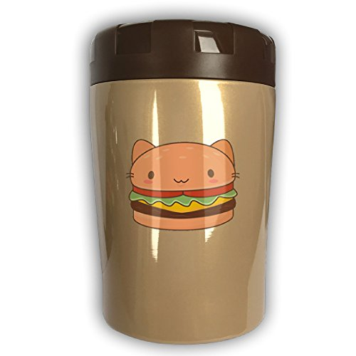 BW Cat Burger Thermos Insulated Stainless Steel Travel Food Jar Soup Flask Unbreakable Leak Proof And Shake Resistant 16 OZ Heat Insulation Effect Keep Food Warm Container