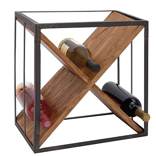 Tabletop Wine Bottle Rack Made of Metal and Wood in BrownBlack Finish 16 H x 15 W x 11 D in