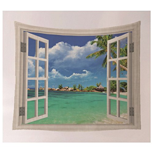 KRWHTS Tapestry Tropical Palm Trees on Island Ocean Beach Through White Wooden Windows Wall Hanging for Bedroom Living Room Dorm Blue Green and White 150130cm6052 150200 cm6080 63