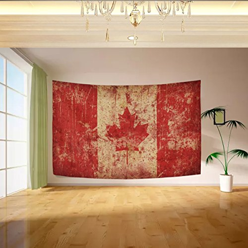 Vipsk Tapestry Retro Canadian Flag Wall Hanging Artistic Light-weight Polyester Fabric Cottage Dorm Wall Art Home Decoration 60 x 40 inches gray Wall decoration