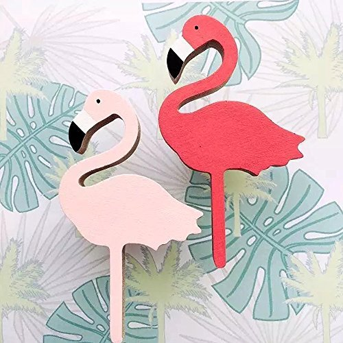 Hiltow 2 Pcs Flamingos Hanger Wooden Hooks Kids Room Wall Decoration Eco-friendly Wall Decor Pink Red