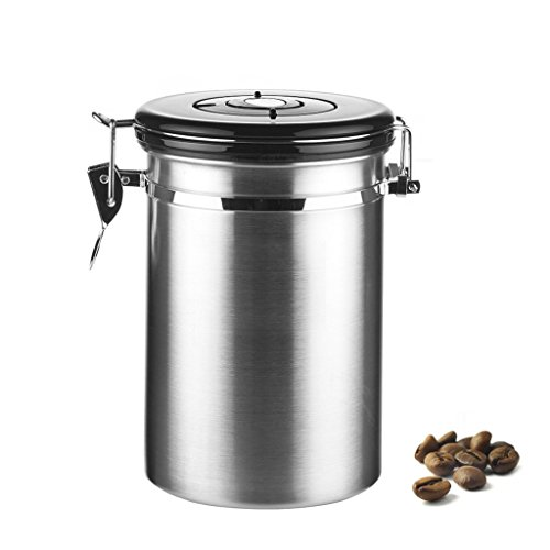 Coffee Bean Airtight ContainerNewcomdigi Vacuum Sealed Airtight Stainless Steel Canister with Built-in CO2 Gas Vent Valve and Date Tracking Wheel for Coffee Beans and Coffee Grounds