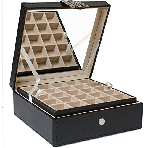 Glenor Co Classic 50-Section Jewelry Box Earrings Organizer with Large Mirror Black