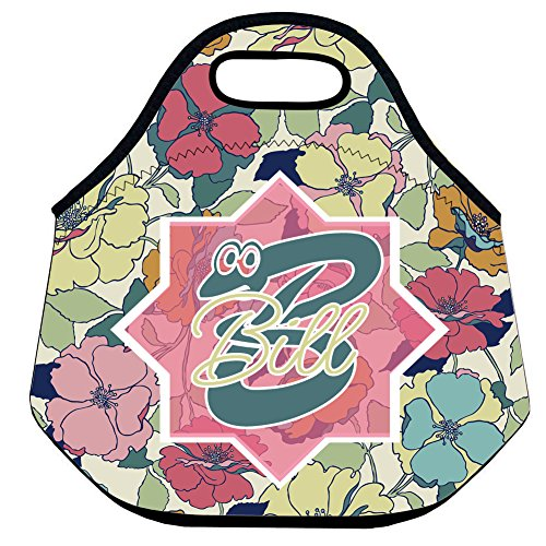 Retro Flower Lunch Bag Neoprene Personalized Girly Floral Insulated Waterproof Lunch Tote Back to School Gifts for Kids Lunch Tote for Women Insulated Fashionable