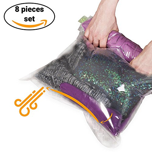 8 Travel Storage Bags for Clothes - No Vacuum or Pump Needed -Reusable Space Saver Packing Sacks 4 items - 28x20 4 items - 24x16 - Rolling Compression for Luggage