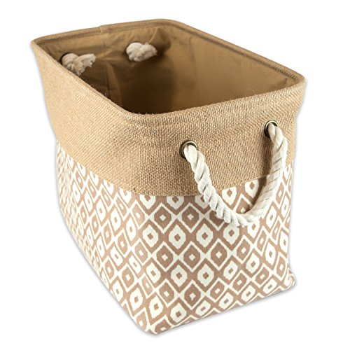 DII Sturdy Burlap Collapsible Convenient Storage Bin For Office Bedroom Closet Laundry More - Large Rectangle Brown Ikat