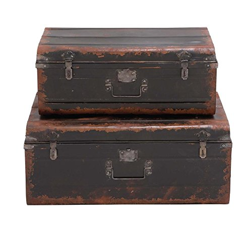 Deco 79 97251 Metal Trunk Set of 2 3128W