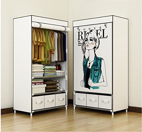 ASSICA Little Girl Portable Clothes Closet Rolling Door Wardrobe Sturdy Rust-Proof Stainless Steel Frame Non-woven Fabric Storage Organizer with Three Drawer Boxes White