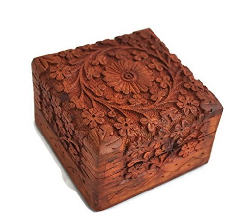 Christmas Thanksgiving Gifts - StarZebra Jewelry Box Novelty Item Unique Artisan Traditional Hand Carved Rosewood Jewelry Box From India - Beautiful Gift Inside