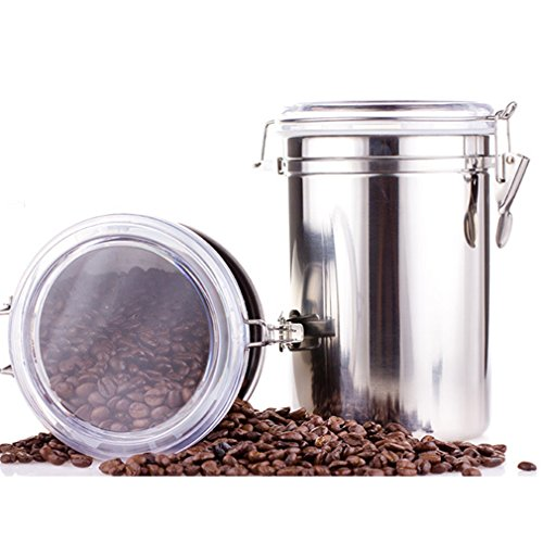 Coffee Canister Airtight Coffee Storage Container Vacuum Sealed Milk Powder Tin Stainless Steel Food Storage for Coffee Beans Sugar Tea Spice Flour 43oz