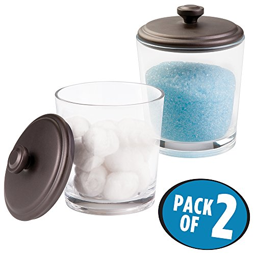 mDesign Bathroom Vanity Glass Canister Jar for Epsom Bath Salts Soap Cotton Balls Swabs - Pack of 2 ClearBronze