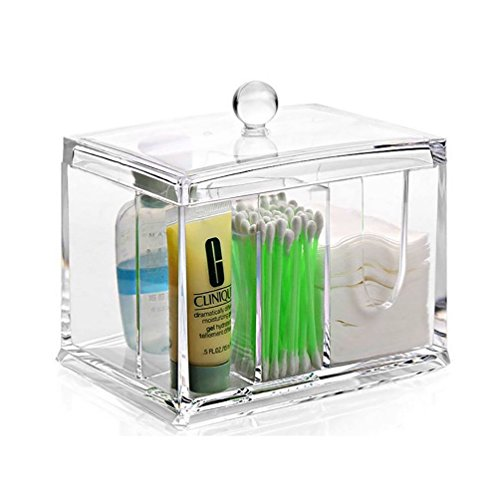 Cotten Pad Q-tips Acrylic Storage Box CEAVIS Premium Quality Plastic Cosmetic Storage Container Makeup Organizer for Lipsticks Creams Clear A
