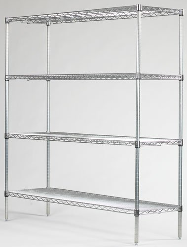Omega Precision - Chrome Wire Shelving Starter Unit Qty4 18 Deep x 30 Wide Wire Shelves Qty4 86 High Posts
