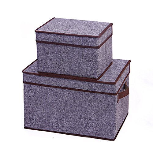 Generic Collapsible Storage Box Canvas Organizer Clothing Storage Bins Cubes Containers with Lids Set of 2 gray