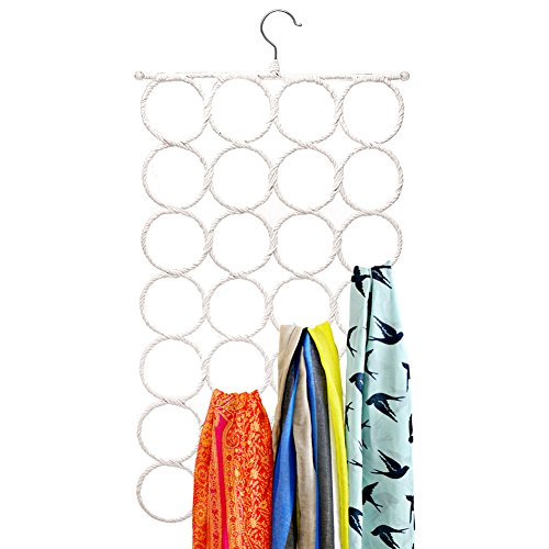 SecuRing Hanger  Super Sturdy and Space Saver Papper Rattan and Stainless Steel Rack Anti Snag Closet Door Organizer Scarf Hanger with 28 Laps  Brilliant Swivel Hook  Vibrant White