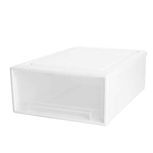WitHome Clothes Stacking Drawer Pulls White Frame with Clear Drawer Plastic Bins Storage Cabinet Drawer Organizers Unit S