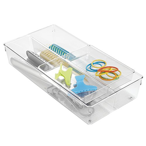 mDesign 2-Piece Sliding Vanity Drawer Organizer for Hair Brushes Combs Flat Irons Accessories - Clear