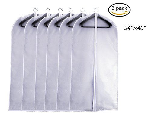 Garment Bag Pack of 6 24×40 Full Zipper Dust Suit Cover Breathable Garment Clothes Bags Large 24×40
